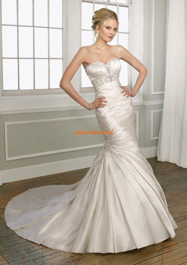 Traîne moyenne Taffetas Printemps Robes de mariée de luxe