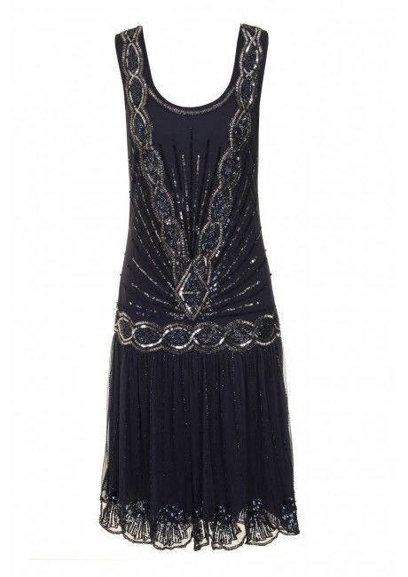 Zelda Flapper Dress Nachtblauw ook via http://www.rockmyvintage.co.uk/frock-and-frill-zelda-flapper-dress.htm