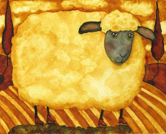 Hubbs Children Art Folk Prints Farm Animals Sheep Ewe. $25,00, via Etsy.