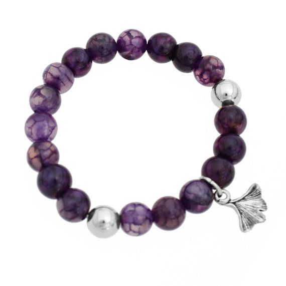Bead Stone Bracelet Agate Purple Ginkgo Leaf by NauticalWheeler