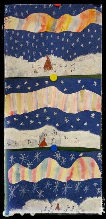 Lappi: revontulet, kota ja porot. Sininen A3-paperi. Alareunaan töpöttämällä lumihanki. Valkoinen 1/2 A3-paperille revontulet +leikataan muotoon -->liimataan. Hangelle porot +kota ja taivaalle lumihiutaleet.