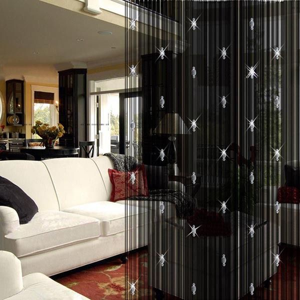 Romantic Decorative String Curtain With 3 Beads Door Window Panel