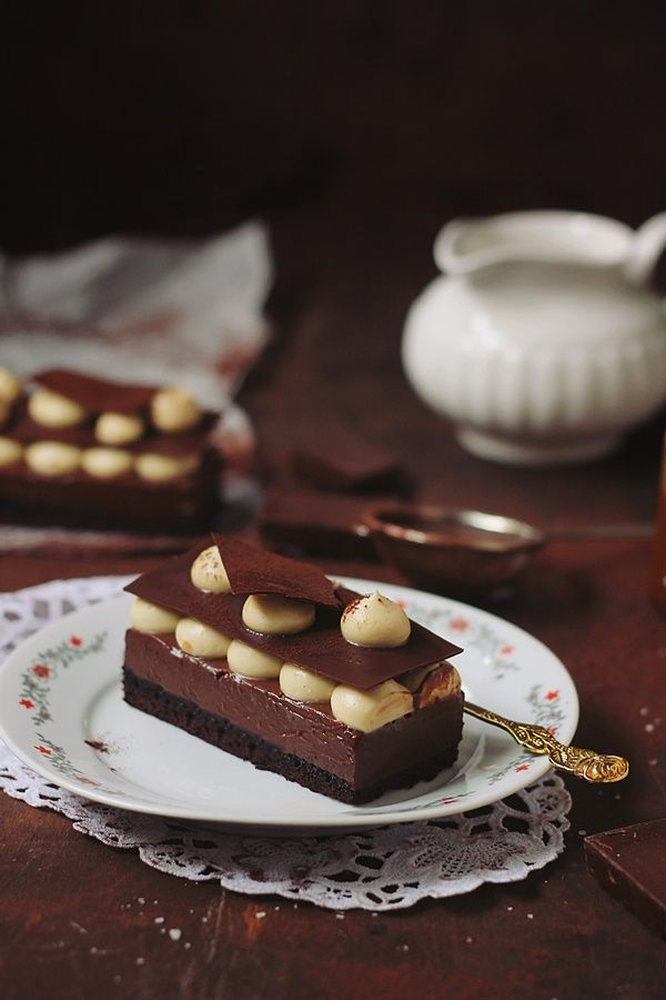 Cake with Chocolate Cream and Caramel Mousse