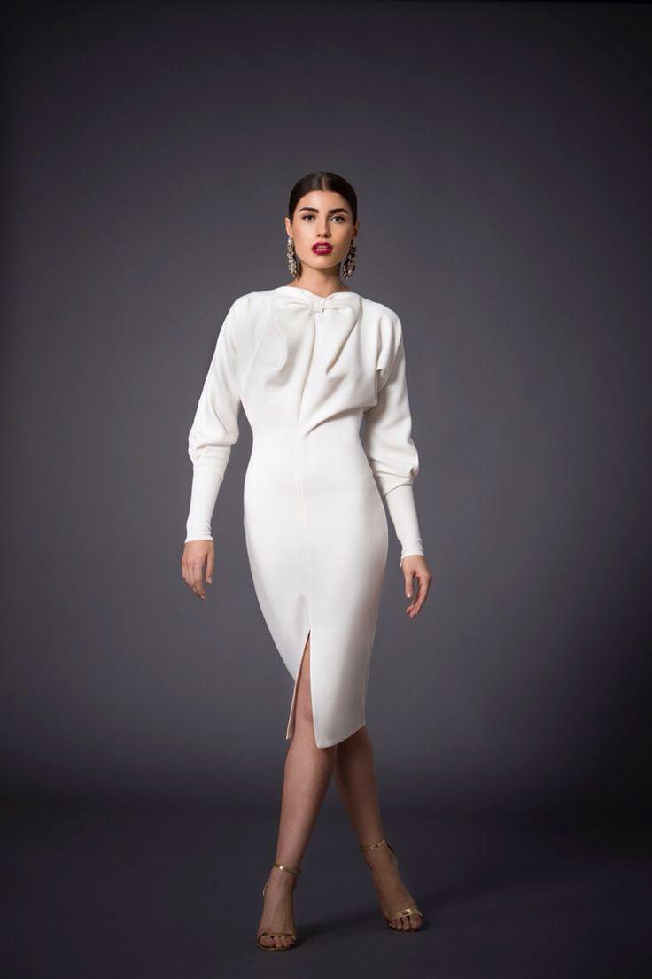Delicate wool crepe dress