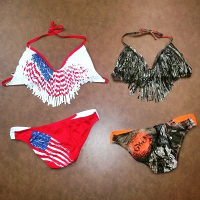 American Flag Patriotic Fringe Bikini and the Mossy Oak Camo Fringe Bikini from Girls With Guns Clothing.