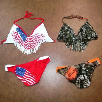 American Flag Patriotic Fringe Bikini and the Mossy Oak Camo Fringe Bikini from Girls With Guns Clothing.