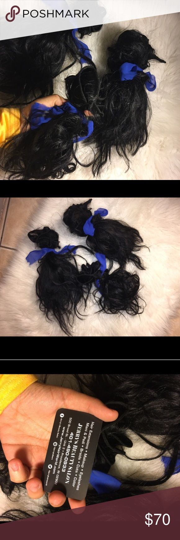 10 inch bundles of body wave/ straight Brazilian Hair extensions. 3 bundles of body wave hair in 1B. Installed once and then cleaned and deep conditioned. Accepting offers I got at a local hair shop for $120 deal. Human hair clearly! Straightens well. Inserted pic. MAC Cosmetics Makeup