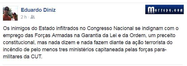 Forças Armadas contra baderna em Brasília: general da ativa critica indignação seletiva dos 'inimigos do Estado no Congresso Nacional' - https://forcamilitar.com.br/2017/05/25/forcas-armadas-contra-baderna-em-brasilia-general-da-ativa-critica-indignacao-seletiva-dos-inimigos-do-estado-no-congresso-nacional/