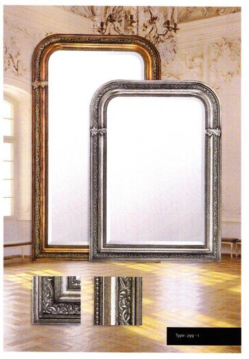Barokspiegel Romeo Facet geslepen Spiegel in ornamentslijst Lijst breedte 10cm Leverbaar in 3 maten  Leverbaar in 5 kleuren: Zilver,Antiekgoud,Antiekzilver,Zwart en Wit