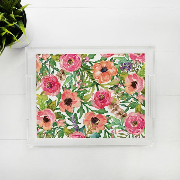 Lucite Tray - Sweet Floral