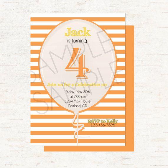 Orange Stripes and Yellow Personalized Balloon Birthday Invitation