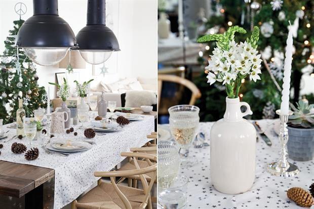 Una mesa de Navidad para salir de los colores clásicos  Esta vez el muérdago navideño se cambió por piñas, cortezas, hojas frescas y perfumadas flores blancas propias de esa época del año.  /Magalí Saberian