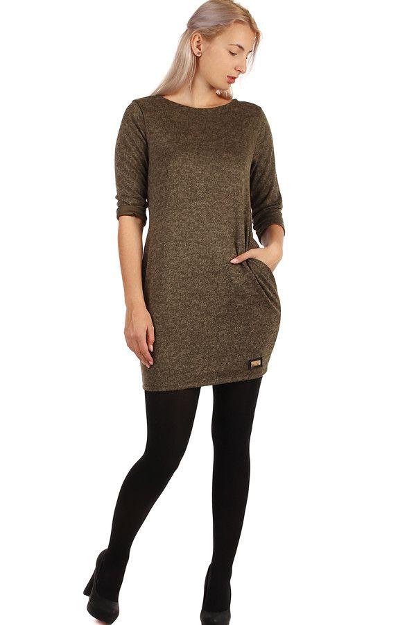 Dámské podzimní úpletové šaty s kapsami - koupit online na Glara.cz   damskesaty  dámskéšaty  glara  fashion  šaty  saty  úpletovéšaty   upletovesaty f9349313b9
