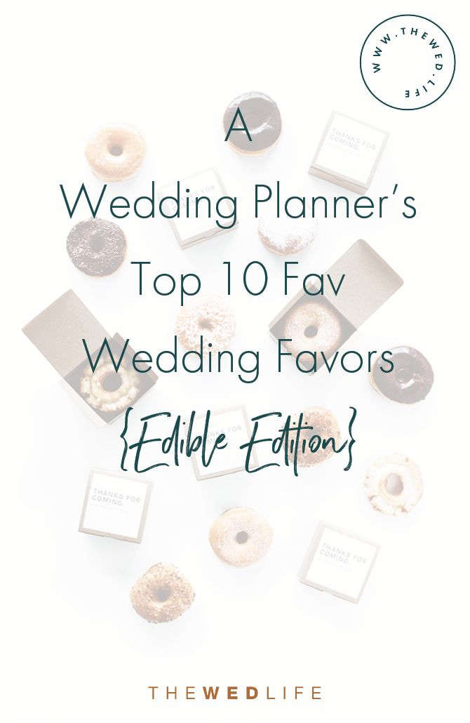 A Wedding Planner's Top 10 Wedding Favors {Edible Edition} Wedding favors are a personal choice, some couples opt to do them, while others do not and there is no right or wrong answer. If you choose to have them, make guests feel like they are taking home a little piece of you and your special day. A souvenir for the spectacular time that they had. Favors are more than just a keepsake, they can often act as dessert, decor, tie in colors and as you will see below, they can even...