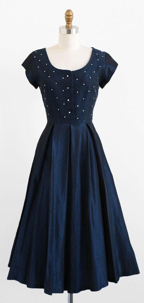 vintage late 1940s dress | midnight blue taffeta with rhinestones | starry skies | Rococo Vintage | http://www.etsy.com/shop/rococovintage