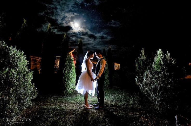 My short wedding dress. So romantic at night!