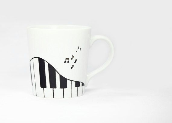 Hand Painted Ceramic Coffee Mug Tea Cup Black by SylwiaGlassArt, $25.00