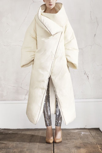now this is a puffy coat i can get into. especially with sequined silver pants. maison martin margiela for h