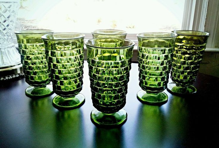 Vintage 6 Indiana Glass Whitehall Fostoria American Green Tumblers Glasses 1960s