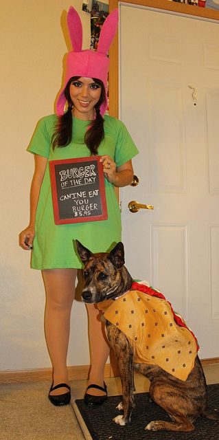 "Bob's Burgers Louise Belcher Costume ""Canine Eat You"" Burger (comes with dog) - Halloween 2013 - Cosplay - Chalkboard"