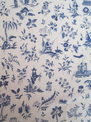 FULL-Double-Matrimonial-Fitted-Sheet-BLUE-WILLOW-Style-Asian-Scenes-Print