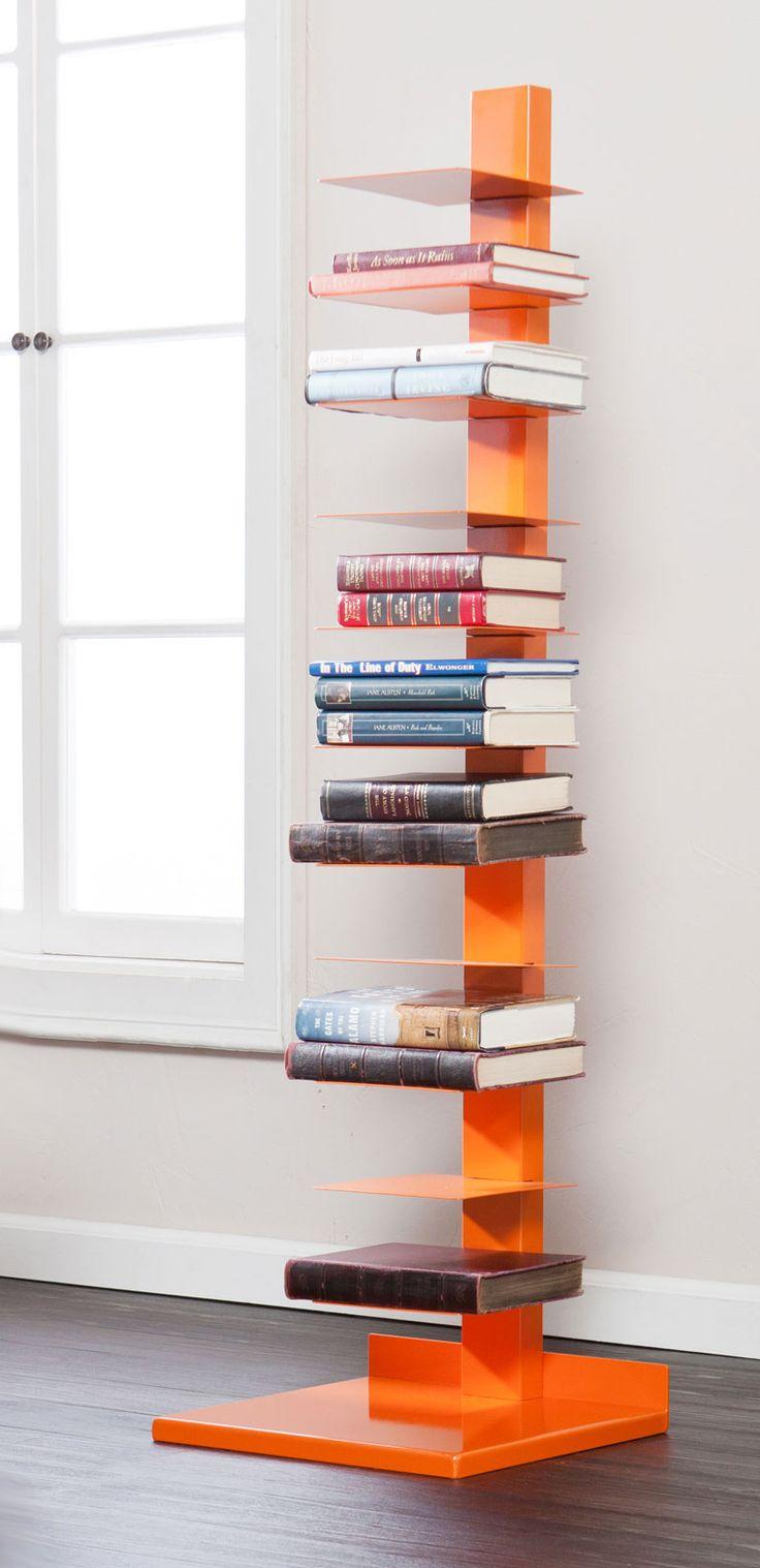 Vertical book shelf - orange   furniture design