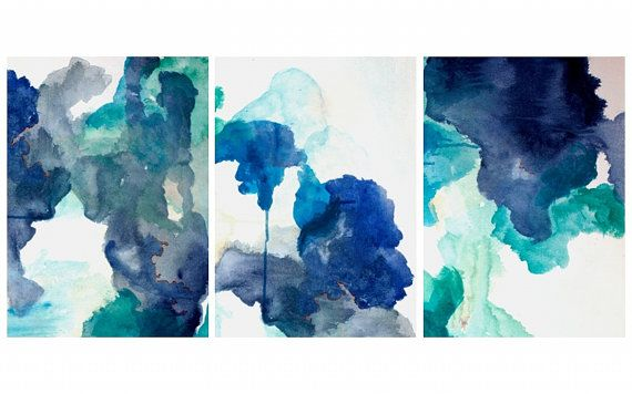 Blue Abstract Painting Print Navy Blue Art by LikeWilliamStudio