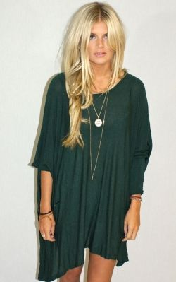 .: Blondes Hair, Hair Colors, Hunters Green, Shirts Dresses, The Dresses, Jersey Dresses, Pretty Hair, Slouchy Shirts, Green Dresses