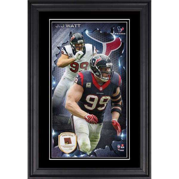 J.J. Watt Houston Texans Fanatics Authentic Vertical Framed Photograph with Piece of Game-Used Football - Limited Edition of 250 - $99.99