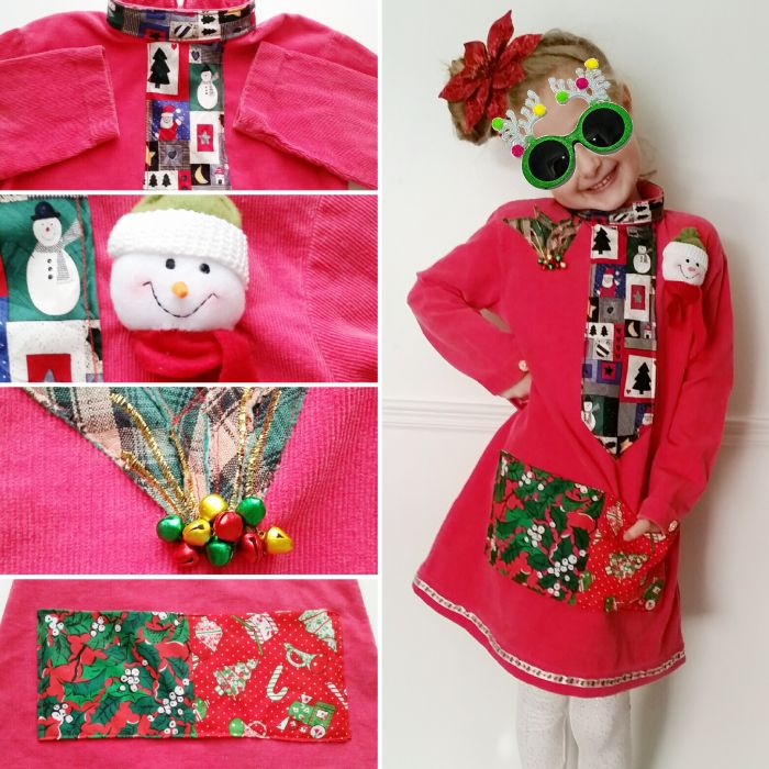 Take a peek at how I put together my kiddo's upcycled DIY refashioned holiday dress from her instructions and a few scrappy bits from my stash!