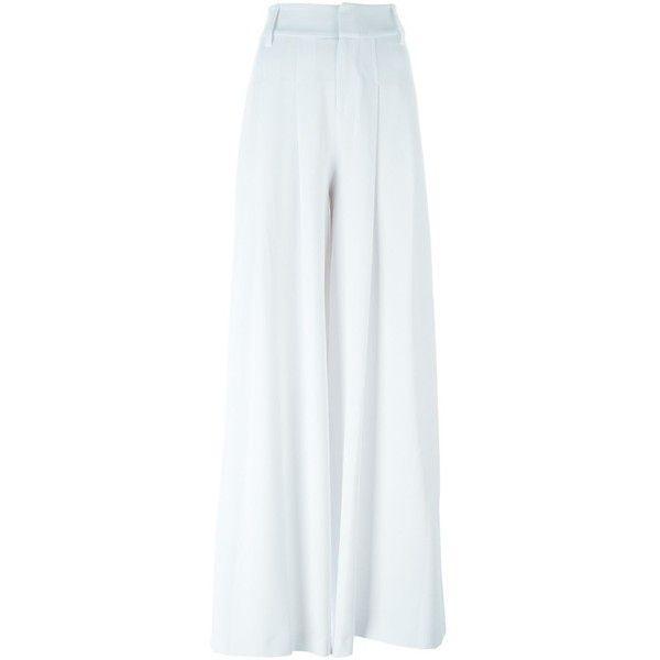 Alice+Olivia Wide Leg Trousers ($405) via Polyvore featuring pants, white, wide-leg trousers, white pants, alice + olivia, white wide leg trousers and wide-leg pants