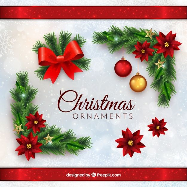 enfeites de Natal em estilo realista Vetor grátis