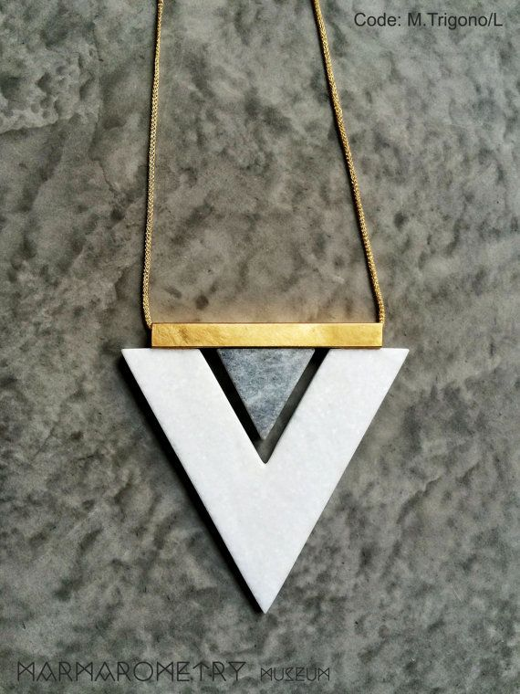 ***This is a Special Limited edition of the Marmarometry Museum Collection!***  Geometric necklace made of Greek marble! So elegant! Make a fashion
