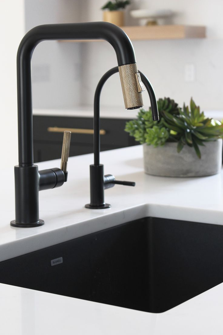 Our New Modern Kitchen The Big Reveal The House Of Silver Lining Brass Kitchen Faucet Black Kitchen Faucets Industrial Decor Kitchen