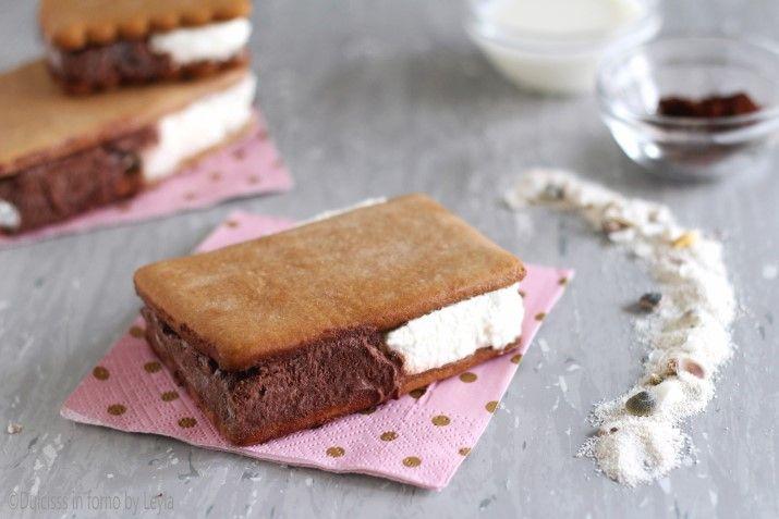Biscotto gelato bigusto panna e cacao