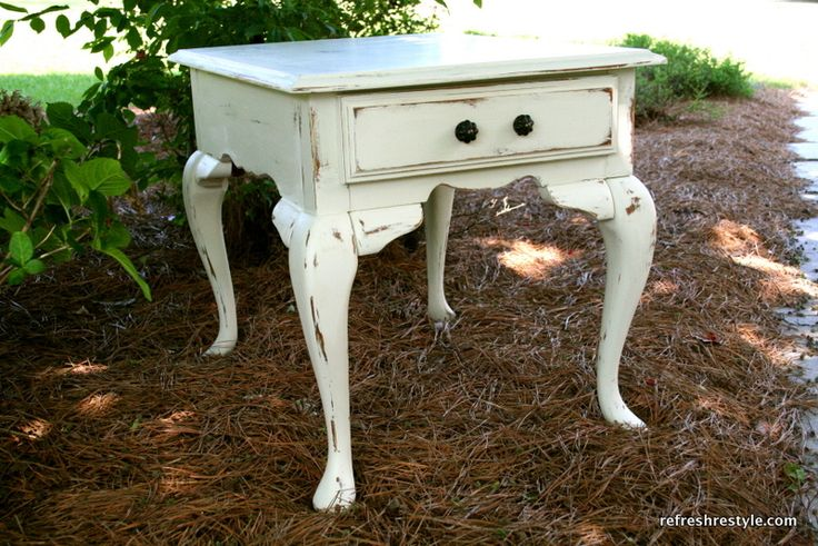 Shabby Oak End Table