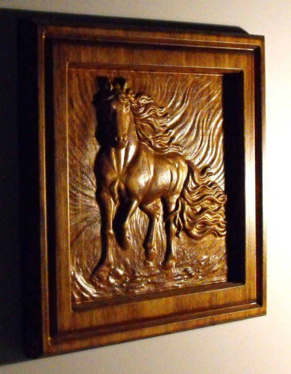 As all our Horses,they are carved in side of there own frame. Key holed,ready for hanging. Made of Poplar 11 1/4+11 1/4+3/4 sanded,