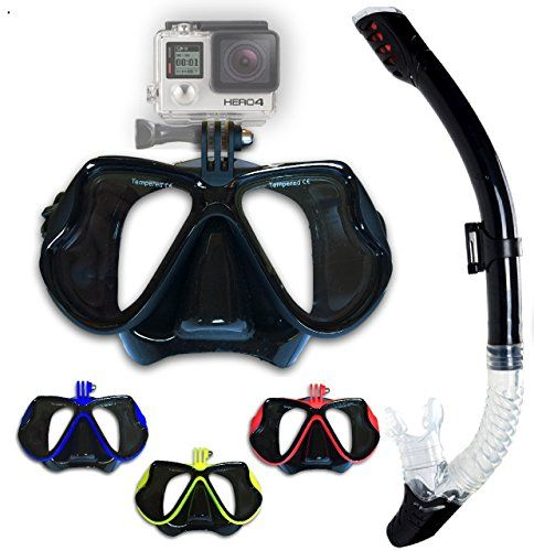 Snorkeling mask set with dry snorkel and FREE carrying bag. Anti-fog Diving mask with Gopro camera mount (Black) - http://scuba.megainfohouse.com/snorkeling-mask-set-with-dry-snorkel-and-free-carrying-bag-anti-fog-diving-mask-with-gopro-camera-mount-black/