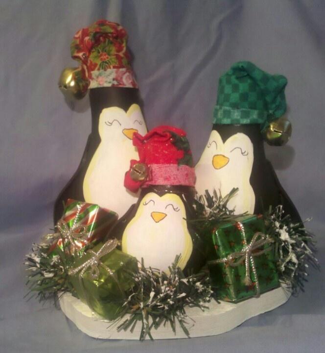 Penguin family (recycled light bulbs)