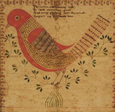 """Pennsylvania/German School, 19th Century Illustrated Cuckoo Bird Poem. Unsigned. Watercolor and ink on paper, depicting a bird perched on a leafy branch under a poem inscribed """"The cuckoo tells a pleasing taile/ To each resounding grove/And every pleasing note she sounds/Inspires my hart with love,"""" 7 1/2 x 7 3/4 in., in a later oak frame. Condition: Creases, foxing, toning, stains, small losses."""