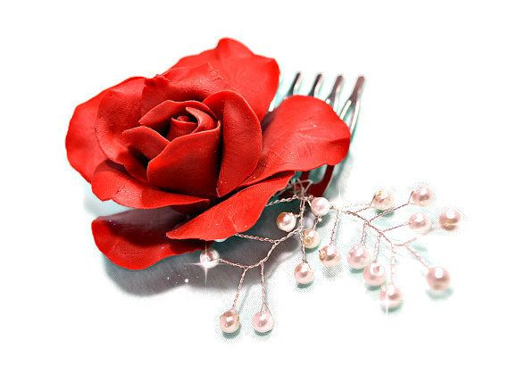 Red hair flower clay rose bridal comb with pearls by RitzyFlowers