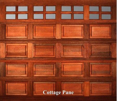 A wooden garage door in Cottage Pane style.