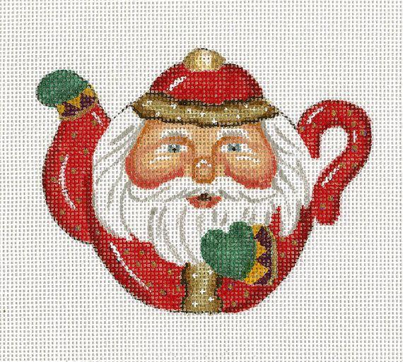 "Needlepoint Santa Ornament - Santa as a Teapot. design: 4""h x 4 3/4""w 18 mesh  $30.00"