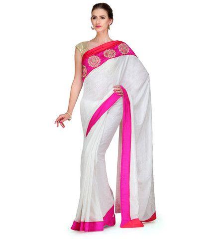 White Art Silk Saree with Heavy Multi Head Border | Fabroop