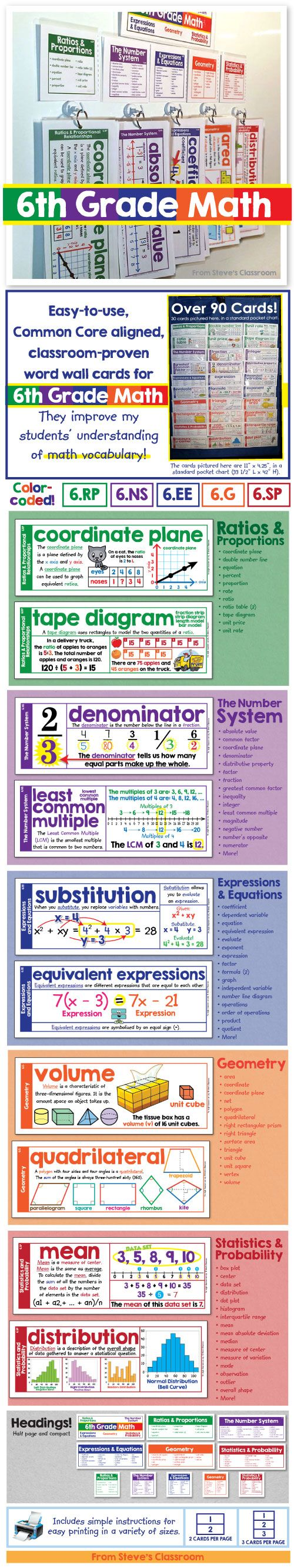 I made this set of 6th Grade math vocabulary word wall cards. It fits in a wall space the size of a poster! Over ninety terms for sixth grade math, all in one compact space on my classroom wall. The definitions, examples, and illustrations help students understand key vocabulary for Ratios and Proportions, The Number System, Expressions and Equations, Geometry, and Statistics and Probability. ~