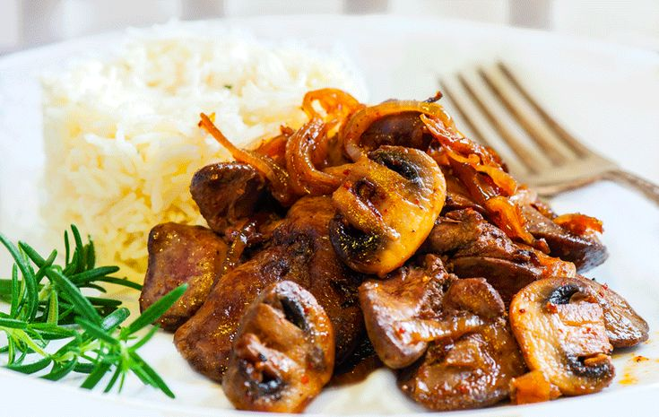 CHICKEN LIVER WITH MUSHROOMS