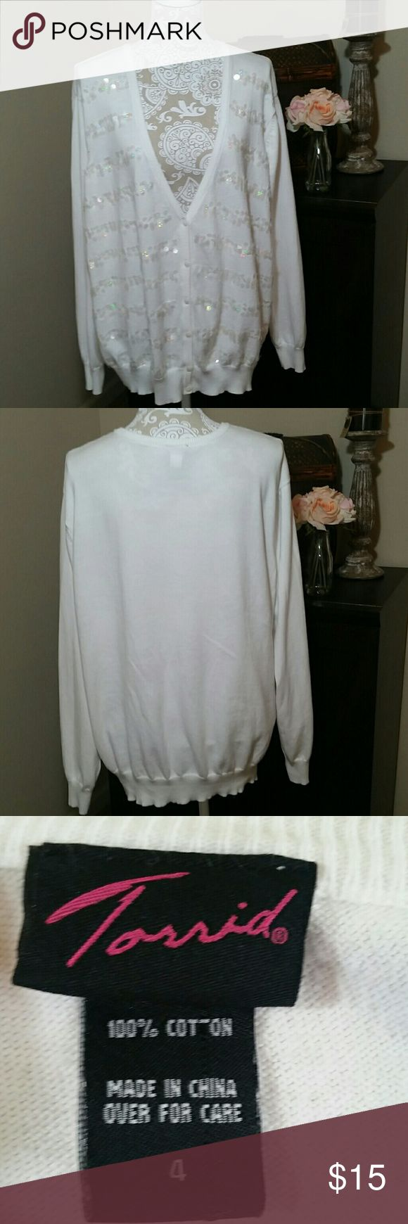 torrid sequined button up cardigan Torrid cardigan with sequins.  Buttons up the front torrid Sweaters Cardigans