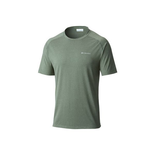 Men's Columbia Tuk Mountain Short Sleeve - Commando Heather T-Shirts ($30) ❤ liked on Polyvore featuring men's fashion, men's clothing, mens apparel, mens clothing, columbia mens clothing and mens sports apparel