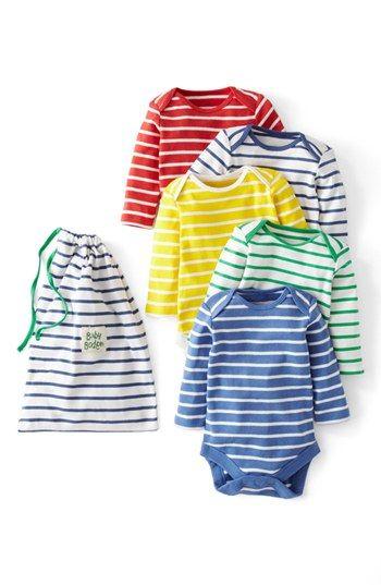 5 Striped Onesies + a cute drawstring bag - cute shower gift for a baby boy.