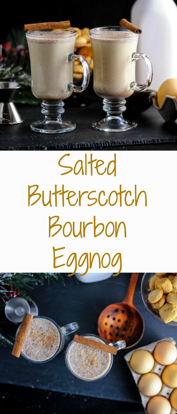 Salted Bourbon Buttererscotch Eggnog cocktail Recipe, homemade, drinks, alcoholic, holiday, Christmas, spiked, shots